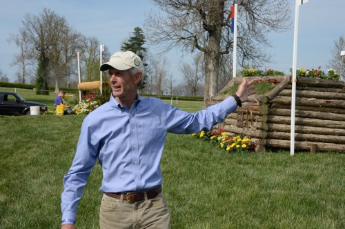 Course designer Derek di Grazia, one of the selectors for the U.S. Eventing Team squad for Normandy, on course at the Kentucky Horse Park at Rolex Kentucky, April 2014, which was a selection trial for Normandy.  Photo by Diana De Rosa