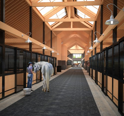 An architectural rendering of a barn that utilizes open vaulted spaces to promote ventilation and increase natural lighting. Photo courtesy of J Martinolich Architect