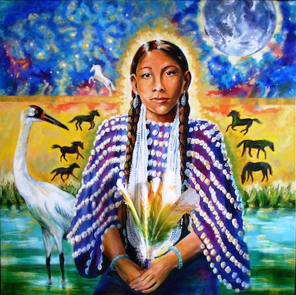 """""""Gives Praise"""" — acrylic on gallery wrap canvas, 3 x 3 — from the """"13 Original Clan Mothers"""" series of Native American matriarchs, based on the book by Jamie Sams."""
