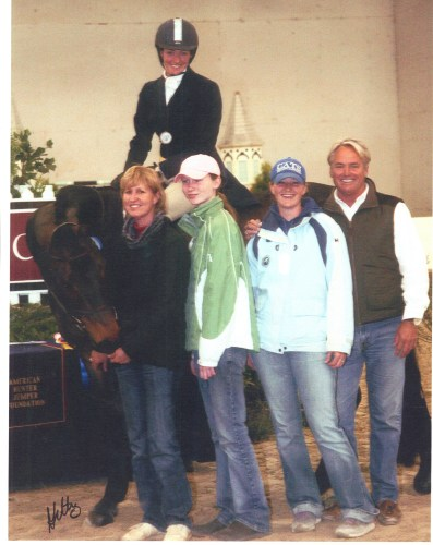 Megan Udelson aboard Betty Weibel's Green Hunter Luminaire. From the left: Betty, daughter Claire Weibel, Melissa Murphy and Scott Williamson. Photo by Anne Gittins