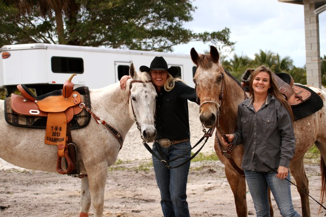 Kerstie with fellow barrel racer Katy Smith, the owner of Angel. (Photo by Sheryel Aschfort, The Polo Paparazzi)