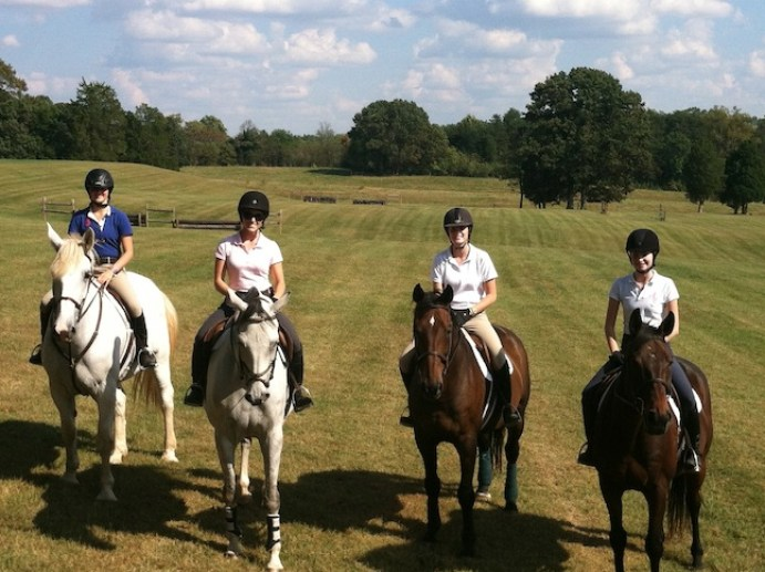 Lauren Blacker (second from left) at a weekend clinic in Virginia with a few of the Dana Hall riders. (Photo by Steven Kaplan)
