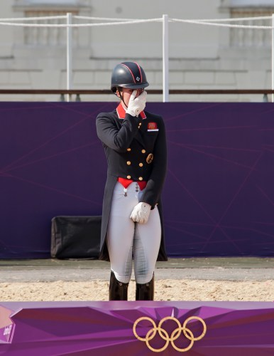 An emotional Charlotte during the Olympic award ceremony.