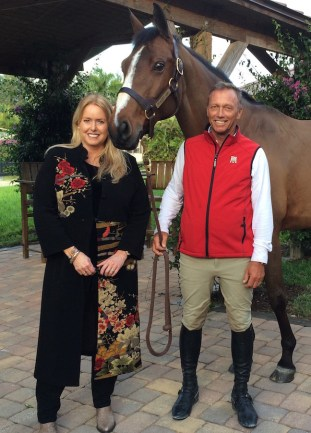 Shelly Townsend with Grand Prix show jumper Todd Minikus and Quality Girl. Todd is a strong supporter of Equine Eco Green and believes it is an environmentally sound solution for manure management. Photo courtesy of Shelly Moore Townsend