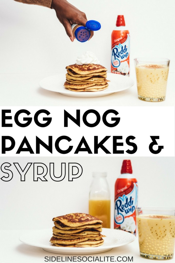 Egg nog pancakes and syrup