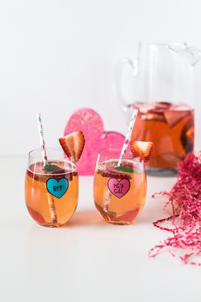 Valentine's Day Cocktail: Strawberry Rosé Sangria galentine's day drinks pink cocktail