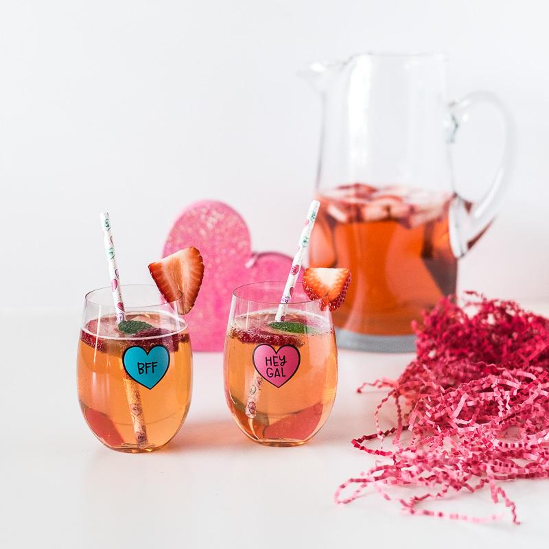 Valentine's Day Cocktail: Strawberry Rosé Sangria galentine's day drinks pink cocktail