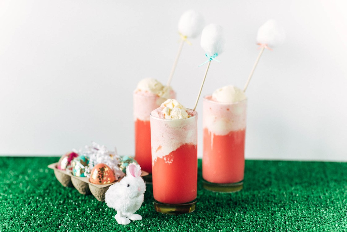 Mocktail Recipe: Easter Bunny Juice Easter Recipe Easter Mocktail and Easter Treats With Easter DIY Cotton Tail Stirrer