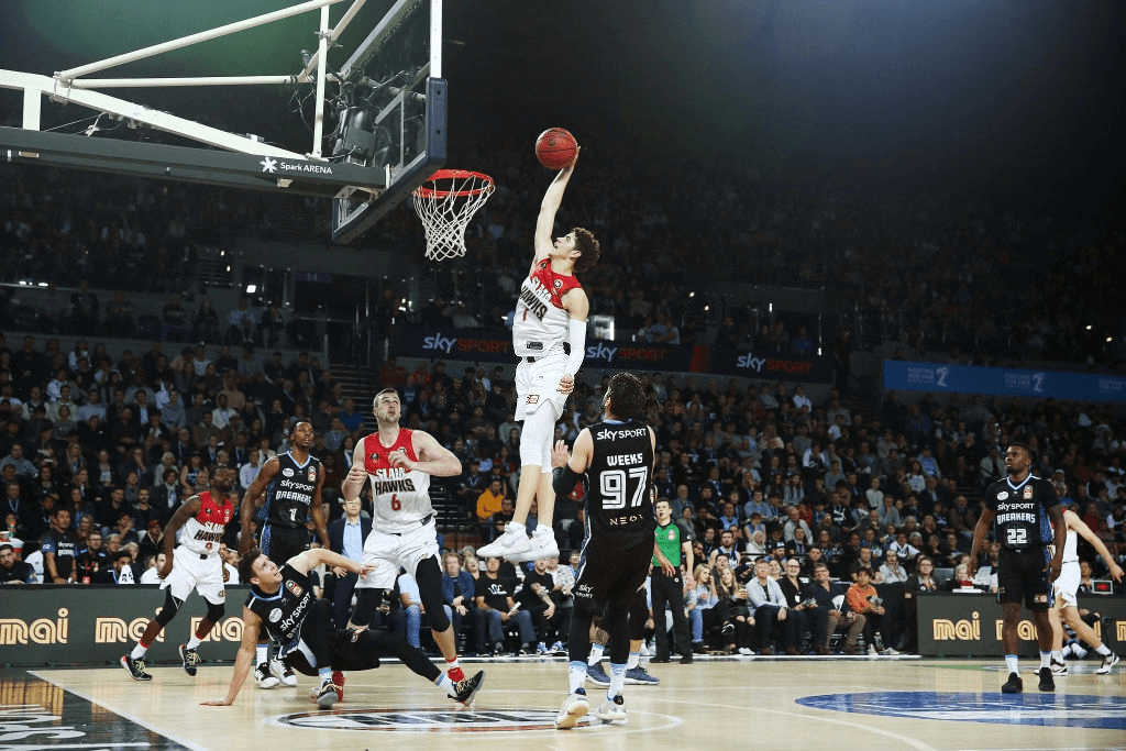 LaMelo Ball of the Hawks with a put back dunk during the round four NBL match between the New Zealand Breakers and the Illawarra Hawks at Spark Arena on October 24, 2019 in Auckland, New Zealand.
