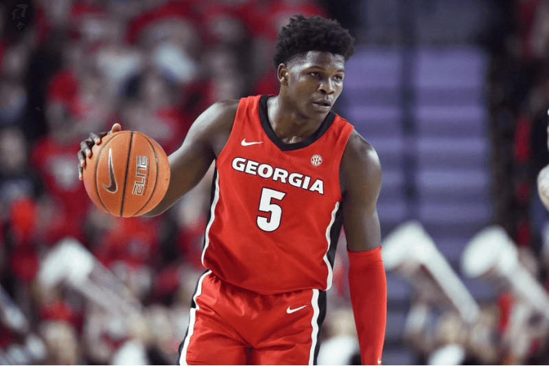 ATHENS, GA - FEBRUARY 19: Georgia guard Anthony Edwards examines the court during the first half of a college basketball game against Auburn on February 19, 2020, at Stegeman Coliseum in Athens, GA.