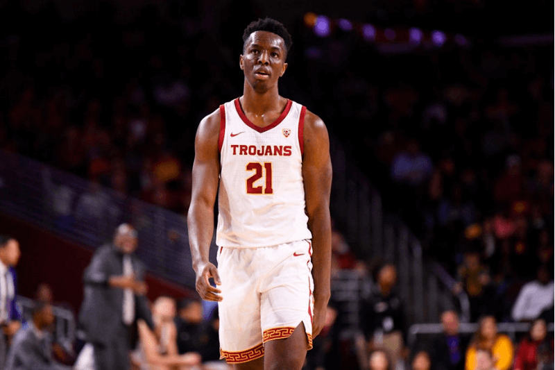 LOS ANGELES, CA - FEBRUARY 01: USC Trojans forward Onyeka Okongwu (21) looks on during a college basketball game between the Colorado Buffaloes and the USC Trojans on February 1, 2020 at Galen Center in Los Angeles, CA.
