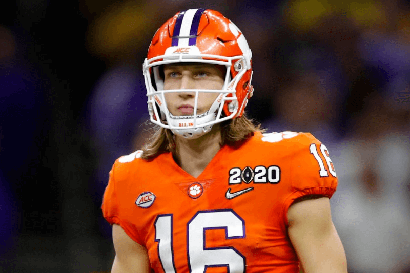 Clemson Tigers quarterback Trevor Lawrence (16) looks to the sideline during the first half of the College Football Playoff National Championship Game between the LSU Tigers and the Clemson Tigers on January 13, 2020 in New Orleans LA.