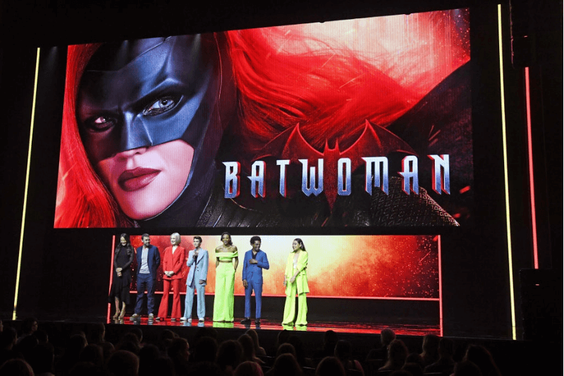 """NEW YORK, NEW YORK - MAY 16: (L-R) Elizabeth Anweis, Rachel Skarsten, Ruby Rose, Meagan Tandy, Camrus Johnson, and Nicole Kang of """"Batwoman"""" speak onstage during the The CW Network 2019 Upfronts at New York City Center on May 16, 2019 in New York City."""