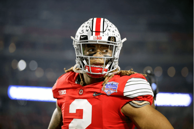 GLENDALE, ARIZONA - DECEMBER 28: Chase Young #2 of the Ohio State Buckeyes reacts against the Ohio State Buckeyes in the second half during the College Football Playoff Semifinal at the PlayStation Fiesta Bowl at State Farm Stadium on December 28, 2019 in Glendale, Arizona.