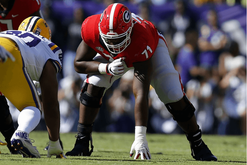 BATON ROUGE, LA - OCTOBER 13: Andrew Thomas #71 of the Georgia Bulldogs guards during a game against the LSU Tigers at Tiger Stadium on October 13, 2018 in Baton Rouge, Louisiana.
