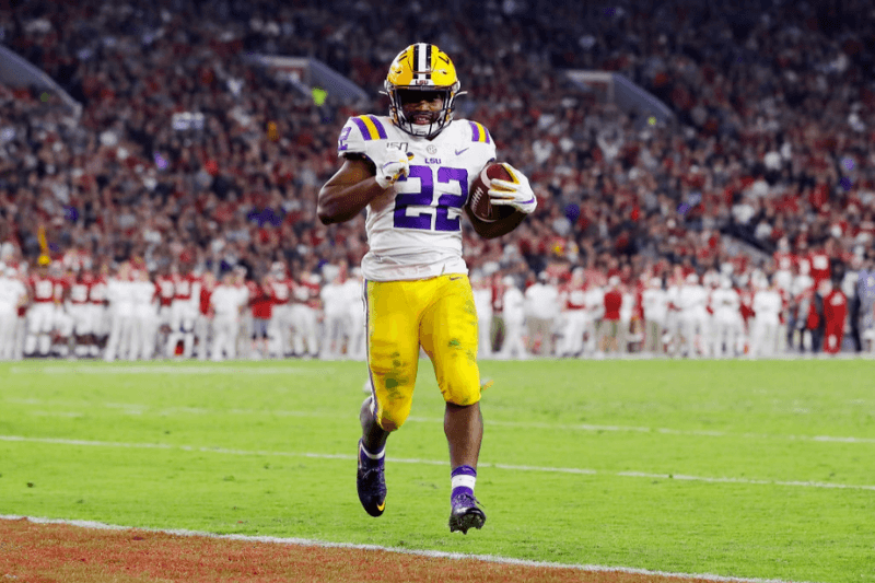 TUSCALOOSA, ALABAMA - NOVEMBER 09: Clyde Edwards-Helaire #22 of the LSU Tigers rushes for a 5-yard touchdown during the fourth quarter against the Alabama Crimson Tide in the game at Bryant-Denny Stadium on November 09, 2019 in Tuscaloosa, Alabama.