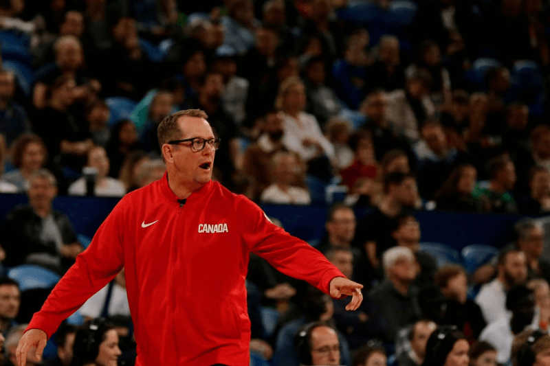 PERTH, AUSTRALIA - AUGUST 16: Nick Nurse, head coach of Canada Basketball looks on during the International Basketball Friendly match between Australian Boomers and Canada at RAC Arena on August 16, 2019 in Perth, Australia.