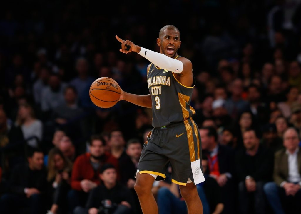 Mar 6, 2020; New York, New York, USA; Oklahoma City Thunder guard Chris Paul (3) dribbles the ball against the New York Knicks during the first half at Madison Square Garden.