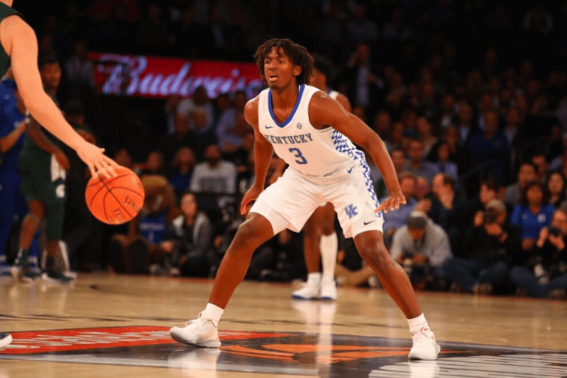 NEW YORK, NY - NOVEMBER 05: Kentucky Wildcats guard Tyrese Maxey (3) defends during the first half of the 2019 State Farm Champions Classic college basketball game between the Michigan State Spartans and the Kentucky Wildcats on November 5, 2019 at Madison Square Garden in New York, NY
