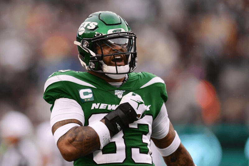 EAST RUTHERFORD, NEW JERSEY - NOVEMBER 24: Jamal Adams #33 of the New York Jets reacts after sacking Derek Carr #4 of the Oakland Raiders during the first half of their game at MetLife Stadium on November 24, 2019 in East Rutherford, New Jersey.