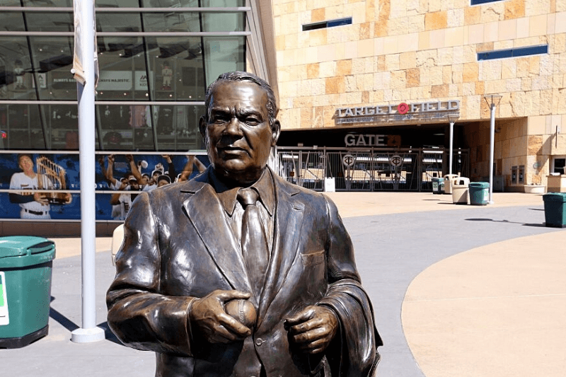 MINNEAPOLIS - MAY 22: A statue of former Minnesota Twins owner Calvin Griffith stands outside Target Field, home of the Minnesota Twins baseball team on May 22, 2015 in Minneapolis, Minnesota.