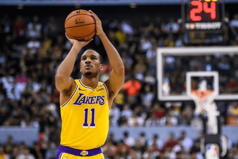 SHENZHEN, CHINA - OCTOBER 12: #11 Avery Bradley of the Los Angeles Lakers in action during a preseason game as part of 2019 NBA Global Games China at Shenzhen Universiade Center on October 12, 2019 in Shenzhen, Guangdong, China.