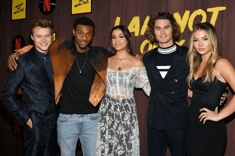 "WEST HOLLYWOOD, CALIFORNIA - FEBRUARY 25: (L-R) Rudy Pankow, Jonathan Daviss, Madison Bailey, Chase Stokes and Madelyn Cline attend Netflix's ""I Am Not Okay With This"" Photocall at The London West Hollywood on February 25, 2020 in West Hollywood, California"