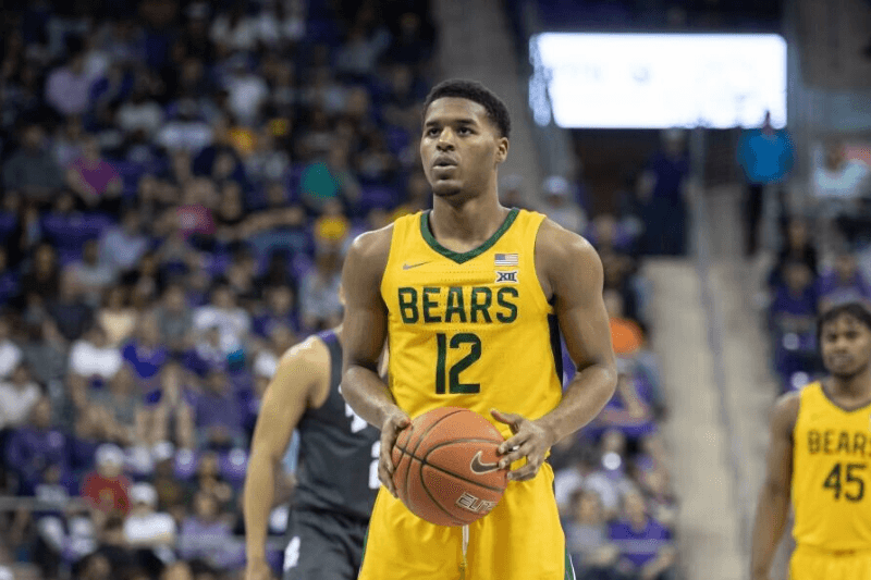 FORT WORTH, TX - FEBRUARY 29: Baylor Bears guard Jared Butler (#12) shoots a free throw during the Big 12 college basketball game between the TCU Horned Frogs and Baylor Bears on February 29, 2020 at Ed & Rae Schollmaier Arena in Fort Worth, Texas.