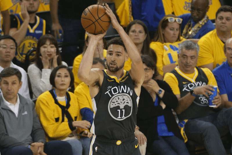 Jun 13, 2019; Oakland, CA, USA; Golden State Warriors guard Klay Thompson (11) shoots during the first half in game six of the 2019 NBA Finals against the Toronto Raptors at Oracle Arena