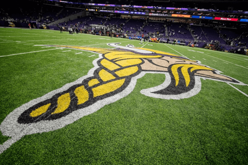 MINNEAPOLIS, MN - DECEMBER 01: A general view inside U.S. Bank Stadium and the Minnesota Vikings logo that is painted on the field during a game between the Minnesota Vikings and Dallas Cowboys on December 01, 2016, at U.S. Bank Stadium, Minneapolis, MN. The Dallas Cowboys defeated the Minnesota Vikings by a score of 17-15.