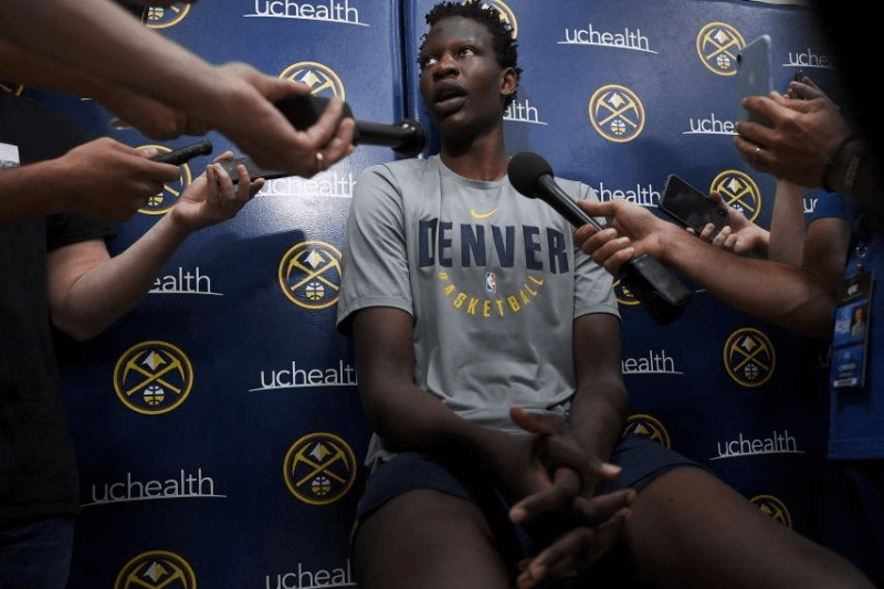 DENVER CO - JULY 2: Bol Bol, a 7-foot-3 center, talks with the media after practices during the Nuggets summer league, at the Pepsi Center, on July 2, 2019 in Denver, Colorado.