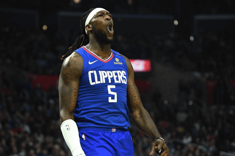 Mar 1, 2020; Los Angeles, California, USA; Los Angeles Clippers forward Montrezl Harrell (5) reacts after blocking a shot in the second half of the game against the Philadelphia 76ers at Staples Center.