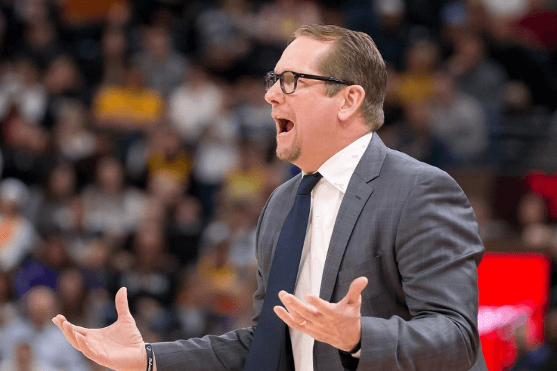 Mar 9, 2020; Salt Lake City, Utah, USA; Toronto Raptors head coach Nick Nurse reacts during the first half against the Utah Jazz at Vivint Smart Home Arena