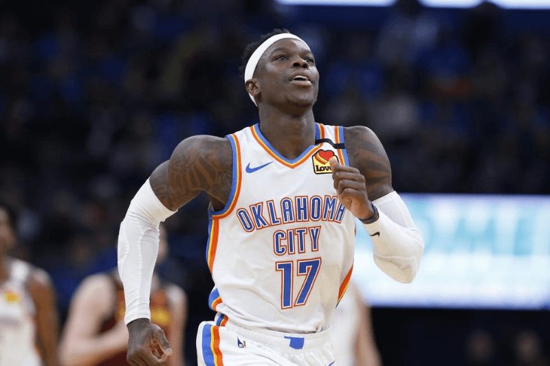 Feb 5, 2020; Oklahoma City, Oklahoma, USA; Oklahoma City Thunder guard Dennis Schroder (17) runs down court after receiving a foul and a technical foul as applied against him during the second half against the Cleveland Cavaliers at Chesapeake Energy Arena. Oklahoma City won 109-103.