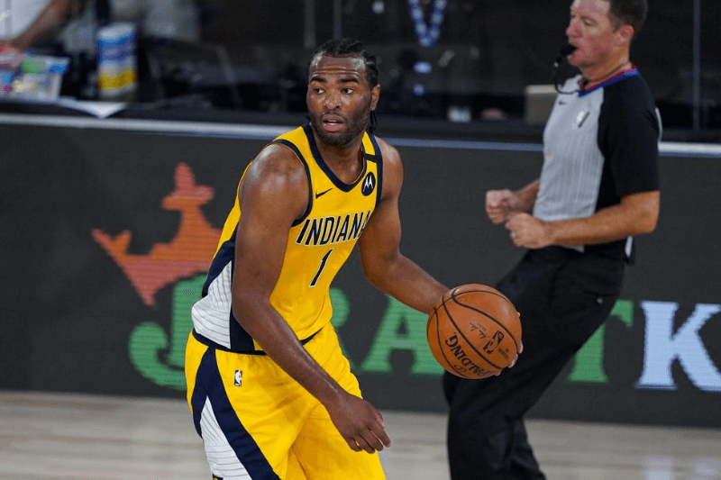 Aug 4, 2020; Lake Buena Vista, USA; Indiana Pacers forward T.J. Warren (1) plays against the Orlando Magic during the second half of an NBA basketball game Tuesday, Aug. 4, 2020 in Lake Buena Vista, Fla.