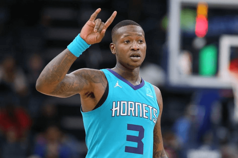 Oct 14, 2019; Memphis, TN, USA; Charlotte Hornets guard Terry Rozier III (3) signals to his team during the game against the Memphis Grizzlies at FedExForum. Hornets won 120-99.