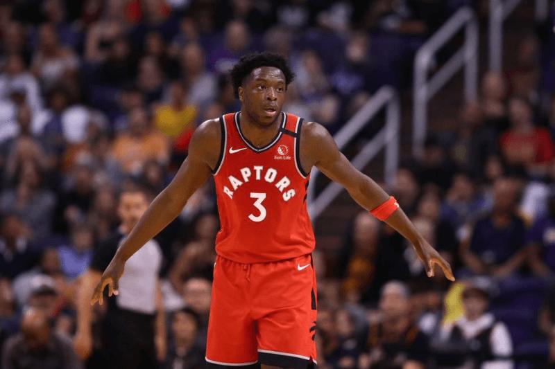 Mar 3, 2020; Phoenix, Arizona, USA; Toronto Raptors forward OG Anunoby (3) against the Phoenix Suns at Talking Stick Resort Arena