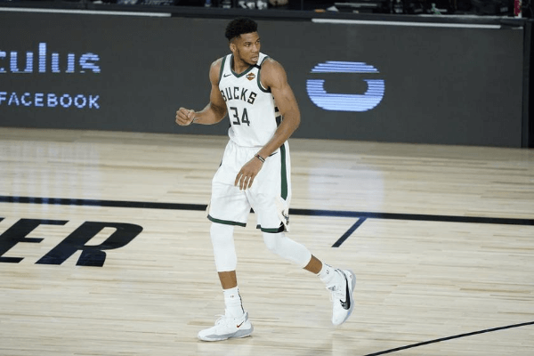 Aug 24, 2020; Lake Buena Vista, Florida, USA; Milwaukee Bucks' Giannis Antetokounmpo reacts during the second half against the Orlando Magic in game four of the first round of the 2020 NBA Playoffs at The Field House