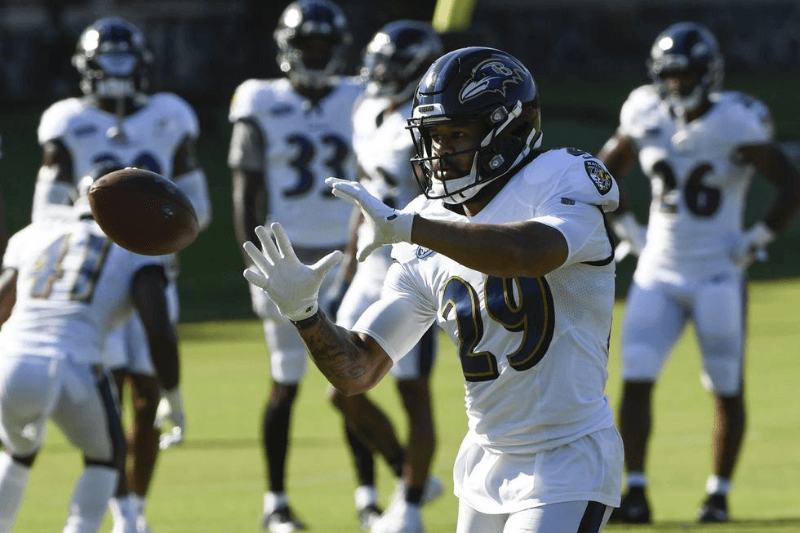 Aug 17, 2020; Owings Mills, Maryland, USA; Baltimore Ravens safety Earl Thomas III (29) catches a pass during the morning session of training camp at Under Armour Performance Center.