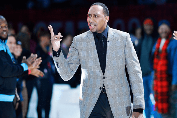 Feb 14, 2020; Chicago, Illinois, USA; Team Stephen A. coach Stephen A. Smith gestures during lineup introductions before the NBA All Star-Celebrity Game at Wintrust Arena. Mandatory Credit: Quinn Harris-USA TODAY Sports