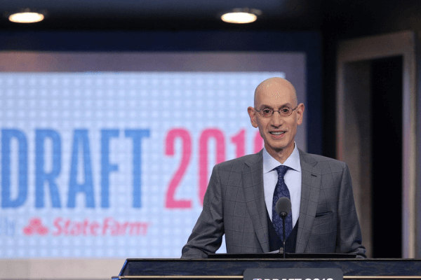 Jun 20, 2019; Brooklyn, NY, USA; NBA commissioner Adam Silver talks prior to introducing the first pick of the first round of the 2019 NBA Draft at Barclays Center.