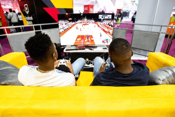 LOS ANGELES, CA - JUNE 22: NBA2K players at UNLOCKED, a dedicated gaming lounge within the BET Experience at Staples Center on June 22, 2019 in Los Angeles, California.