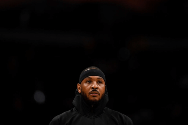 ENVER, CO - DECEMBER 12: Carmelo Anthony (00) of the Portland Trail Blazers prepares to face his former team the Denver Nuggets before the first quarter on Thursday, December 12, 2019.