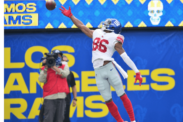 Oct 4, 2020; Inglewood, California, USA; New York Giants wide receiver Darius Slayton (86) misses catching a pass against the Los Angeles Rams during the second half at SoFi Stadium.