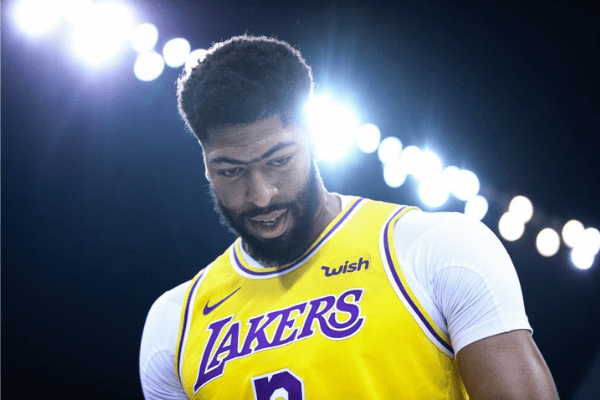 Anthony Davis #3 of the Los Angeles Lakers looks on during the match against the Brooklyn Nets during a preseason game as part of 2019 NBA Global Games China at Shenzhen Universiade Center on October 12, 2019 in Shenzhen, Guangdong, China.