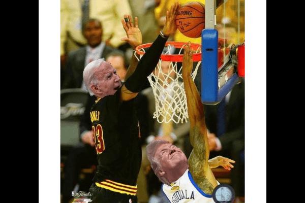 LeBron James meme of Biden blocking Trump