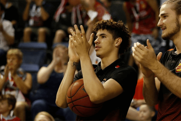 LaMelo Ball of the Hawks cheers his team on during the round 13 NBL match between the Illawarra Hawks and the Sydney Kings at WIN Entertainment Centre on December 31, 2019 in Wollongong, Australia.