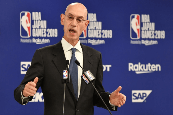 NBA Commissioer Adam Silver speaks during a press conference prior to the NBA Japan Games 2019 between the Toronto Raptors and Houston Rockets in Saitama on October 8, 2019. - The NBA will not regulate the speech of players, employees and owners, the organisation's commissioner said Tuesday after a tweet from a Houston Rockets executive sparked a backlash in China.