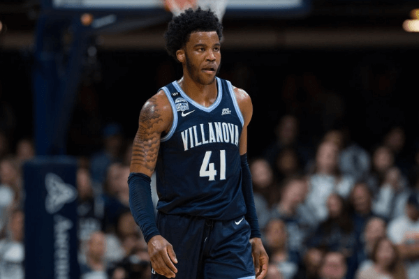 INDIANAPOLIS, IN - FEBRUARY 05: Villanova Wildcats forward Saddiq Bey (41) walks down the court during the men's college basketball game between the Villanova Wildcats and Butler Bulldogs on February 5, 2020, at Hinkle Fieldhouse in Indianapolis, IN. (Photo by Zach Bolinger/Icon Sportswire via Getty Images)