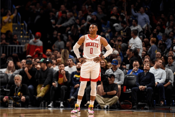 Russell Westbrook (0) of the Houston Rockets looks up at the clock late against the Denver Nuggets during the fourth quarter of Denver's 105-95 win on Wednesday, November 20, 2019.